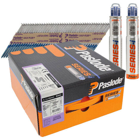 Paslode 141072 IM360 3.1mm x 75mm Galv Plus Nails x 2200 & 2 Fuel Cells
