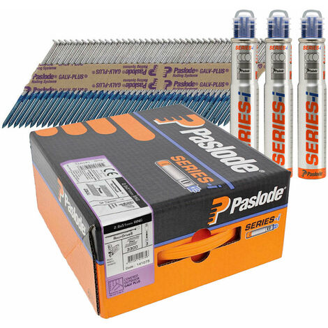 Paslode 141075 IM360 2.8mm x 51mm Galv Plus Nails x 3300 & 3 Fuel Cells