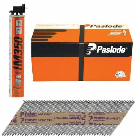 Paslode PAS141267 IM350+ Retail Pack Nail & Gas Plain Shank Hot Dipped Galvanised 350 3.1 x 90mm 1CFC Box of 1,100
