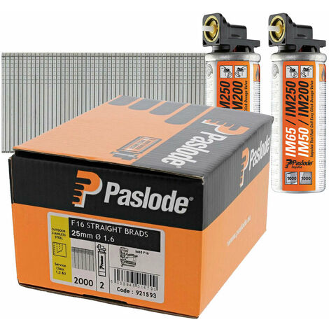 Paslode PAS921593 25mm IM65 Stainless Steel Straight Brads 2000 2 x Fuel Cells