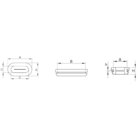 Passe-fils PB Fastener 1097-01 trou oblong Ø max. des bornes 21 mm PVC noir 1 pc(s) S28088