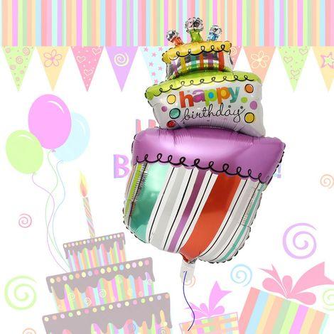 Pastel Globo de papel de aluminio FELIZ CUMPLEAÑOS Globos de helio Decoración de fiesta de cumpleaños Sasicare