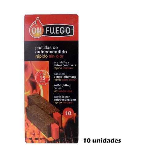 Pastillas autoencendido OK FUEGO Rápido sin olor - 10 pastillas