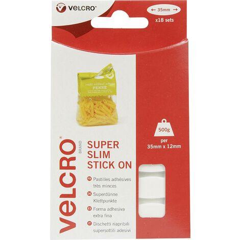 Pastille auto-agrippante VELCRO® VEL-EC60212 VEL-EC60212 à coller partie velours et partie agrippante (L x l) 35 mm x 12 mm blanc 18 pc(s) W33042