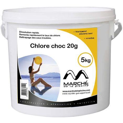Pastilles de chlore choc Marchedelapiscine 20g seau 5kg