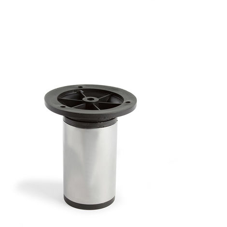 Pata regulable de acero cilíndrica con una altura de 100 mm y acabada en aluminio. dimensiones: 50x50x100 mm - talla
