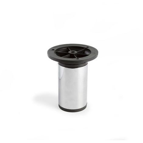 Pata regulable de acero cilíndrica con una altura de 100 mm y acabada en cromo brillo. dimensiones: 50x50x100 mm - talla