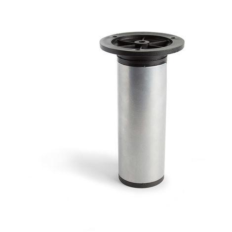 Pata regulable de acero cilíndrica con una altura de 150 mm y acabada en aluminio. dimensiones: 50x50x150 mm - talla