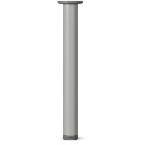 Pata regulable de aluminio cilíndrica, con acabado en anodizado mate, diseñada para mesas altas (800mm con sistema de fijación)