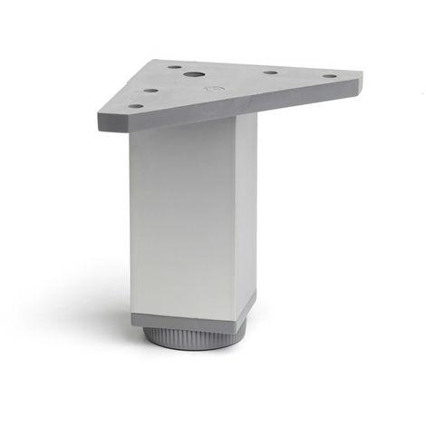 Pata regulable de aluminio cuadrada con una altura de 100 mm y acabada en anodizado mate. dimensiones: 40x40x100 mm - talla
