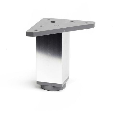 Pata regulable de aluminio cuadrada con una altura de 100 mm y acabada en cromo brillo. dimensiones: 40x40x100 mm - talla