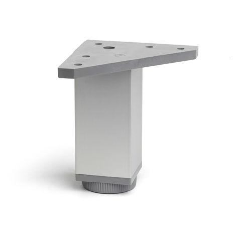 Pata regulable de aluminio cuadrada con una altura de 120 mm y acabada en anodizado mate. dimensiones: 40x40x120 mm - talla