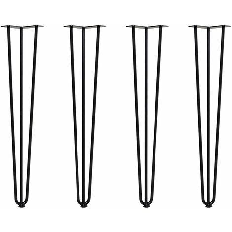 Patas de Horquilla para Mesa Set 4 12x12x71cm Con Protectores de Goma Negro - negro
