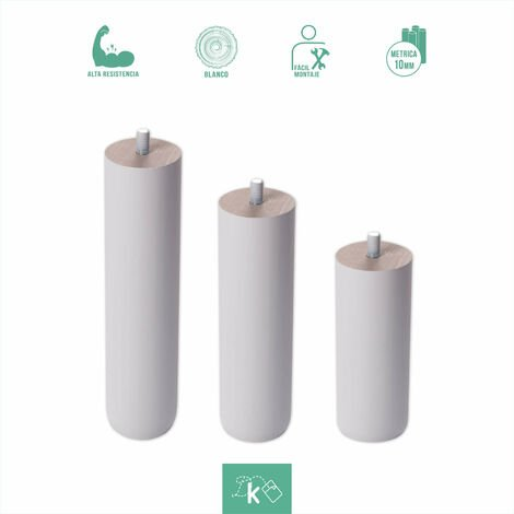 Patas redondas de madera color blanco - Altura 10 cm - Rosca de Metrica 10 (1 cms) - Pack de 1 ud de 10 cm