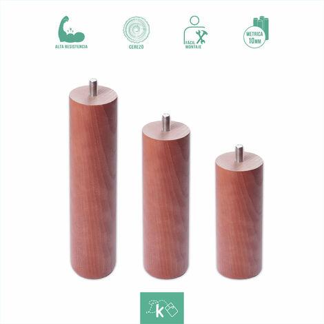 Patas redondas de madera color cerezo - Altura 10 cm - Rosca de Metrica 10 (1 cms) - Pack de 1 ud de 10 cm
