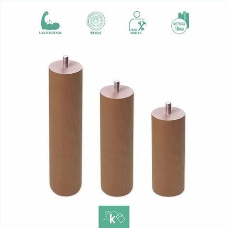 Patas redondas de madera color nogal - Altura 30 cm - Rosca de Metrica 10 (1 cms) - Pack de 1 ud de 30 cm