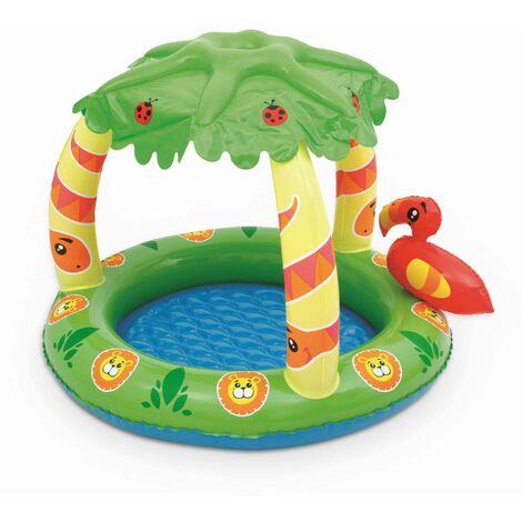 Pataugeoire gonflable Calao, piscine pour bébé avec pare-soleil, 99x91x71cm