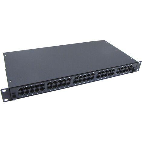 - Patch panel de 50 RJ45 Cat.3 1U (8P4C) negro en cajón extraible