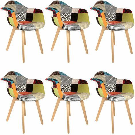 Patchwork - Lot de 6 Fauteuils Scandinaves Multicolore