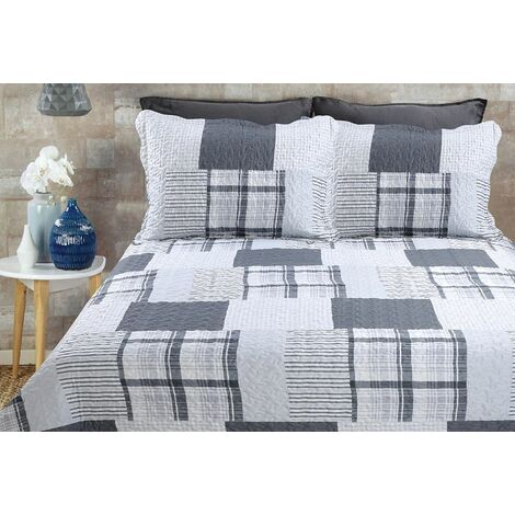 Patchwork Quilted King Bedspread and Pillowsham Bedding Bed Set With Scalloped Edging Grey