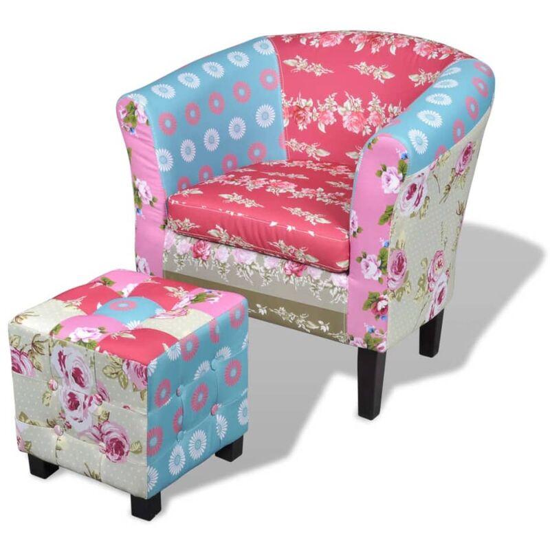 Französischer Sessel mit Fußhocker Patchwork-Design - VIDAXL