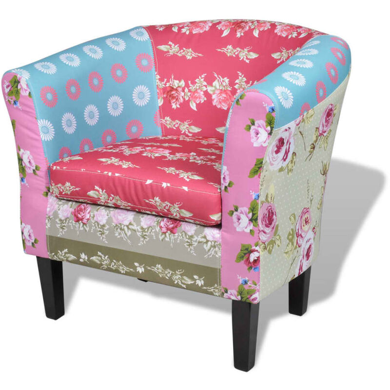 Sessel mit Patchwork-Design Stoff - VIDAXL