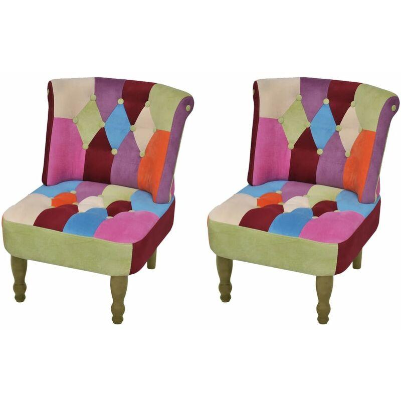 Vidaxl - Französischer Sessel mit Patchwork-Design Stoff 2 Stk.