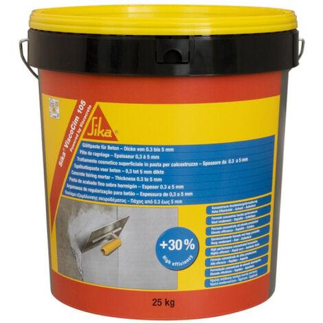 Pâte de ragréage murale d'épaisseur 0,3 à 5mm - SIKA ViscoCim 105 - Gris clair - 25kg - Gris