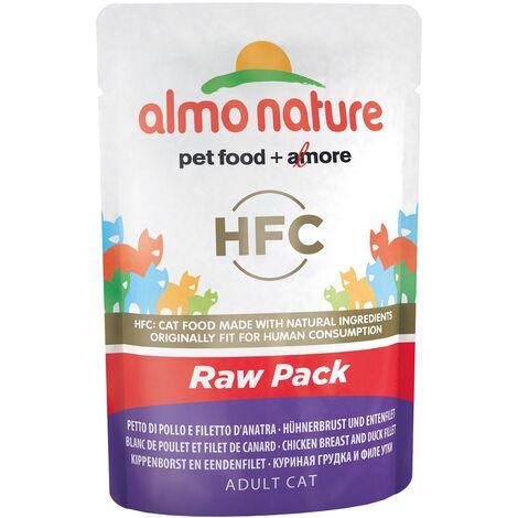 Pâtée pour chat Almo Nature HFC Raw Pack - Lot de 6 pochons 55 g Filet de poulet et de thon