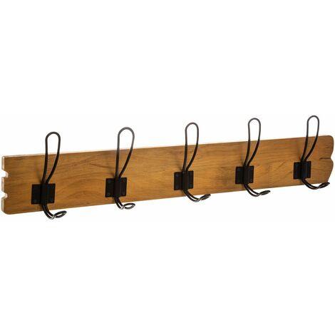 Patère bois rétro 5 crochets Loft - Marron