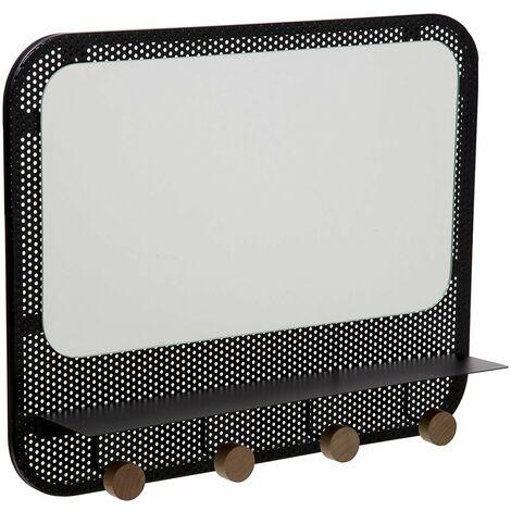 Patère miroir métal bois 4 têtes - Noir