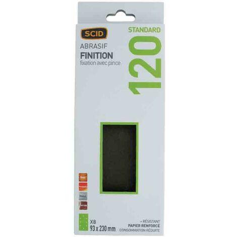 Patin abrasif fixation par pince 93 x 230 mm - grain 120 - lot de 8