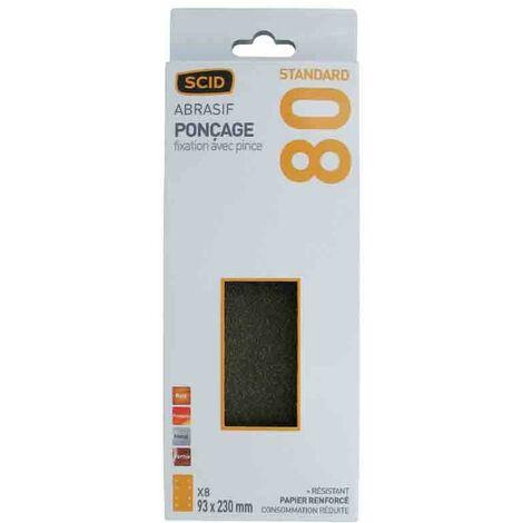 Patin abrasif fixation par pince 93 x 230 mm - grain 80 - lot de 8