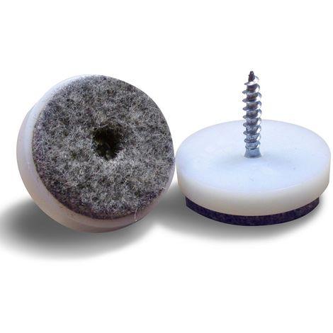 Patin Plastique à Visser Feutre Gris - Plusieurs Dimensions