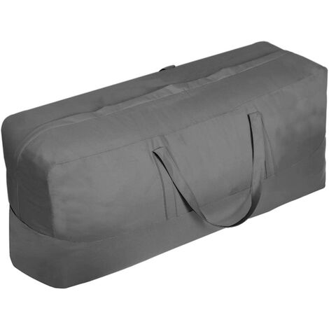 Patio Cushion / Protective Cover Storage Bag Waterproof Outdoor Patio Furniture Seat Rectangular Cushion Storage Bag, Zipper Protection Patio Protective Cover Carrying Bag-Oversized, Beige and Brown