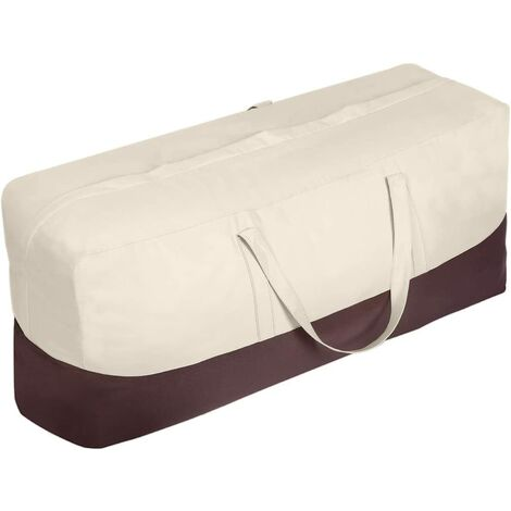 Patio Cushion / Protective Cover Storage Bag Waterproof Outdoor Patio Furniture Seat Rectangular Cushion Storage Bag, Zipper Protection Patio Protective Cover Carrying Bag-Oversized, Beige and Brown a