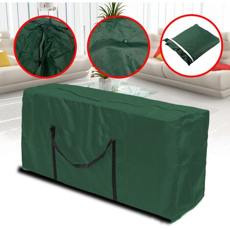 Patio Cushion Storage Bag Outdoor Protective Zippered Patio Furniture Cover Waterproof Dustproof Lightweight Zipped Carry Case (Green-122*39*55cm)
