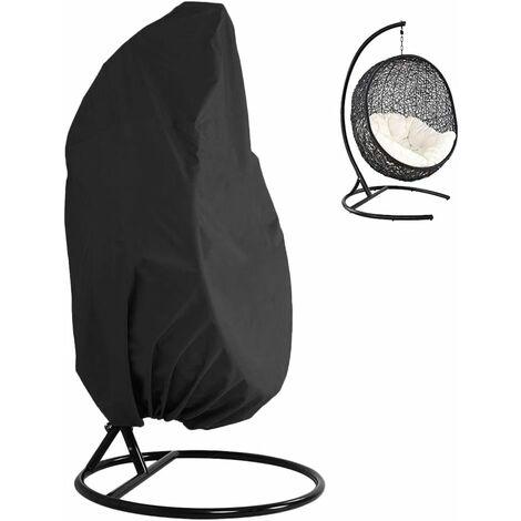 Patio Hanging Chaise Couverture 210D Oxford Tissu Heavy Dutout Veranda Veranda Cocoon Cocoon Chaise d'oeuf Meubles de jardin Couvercle de protection Résistant à l'eau et aux UV (Noir)