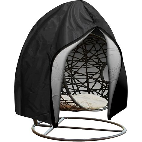 """main image of """"Patio Hanging Egg Chair Cover , Waterproof Outdoor Swing Cocoon Egg Chair Cover with Zipper&Drawstring , 210D Oxford Fabric Heavy Duty Windproof Anti-Dust Veranda Garden Furniture Protector 230x200cm"""""""