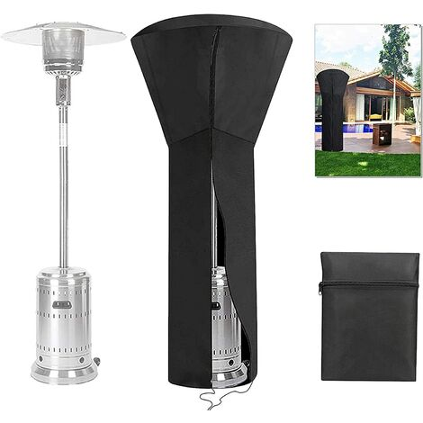 """main image of """"Patio Heater Cover Outdoor Heavy Duty Heater Cover 226x85x48 CM, 420D Oxford Fabric Waterproof UV Heater protection cover with Storage Bag, Black"""""""