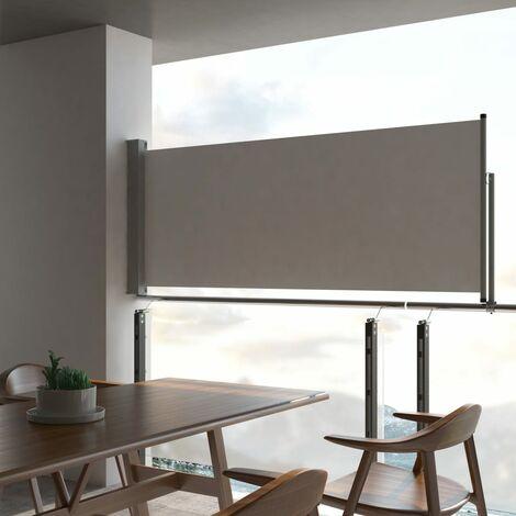 Patio Retractable Side Awning 100 x 300 cm Grey - Grey
