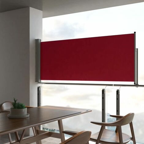 Patio Retractable Side Awning 100x300 cm Red - Red