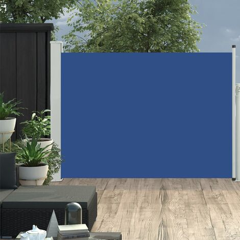 Patio Retractable Side Awning 100x500 cm Blue