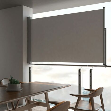 Patio Retractable Side Awning 140 x 300 cm Grey