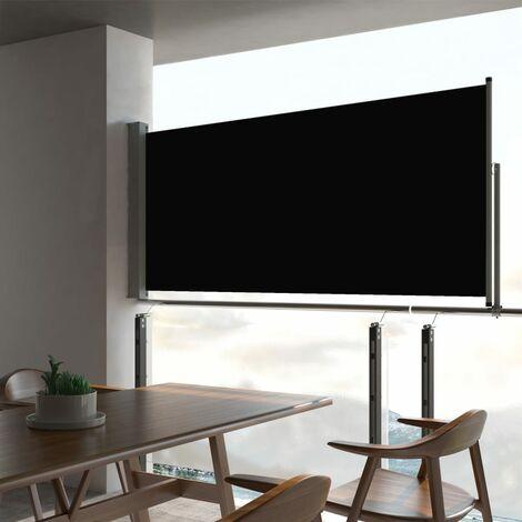 Patio Retractable Side Awning 60x300 cm Black - Black
