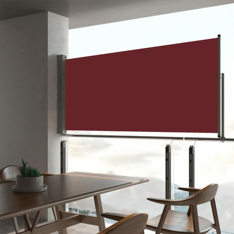 Patio Retractable Side Awning 60x300 cm Red - Red
