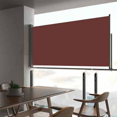 Patio Retractable Side Awning 80x300 cm Brown - Brown
