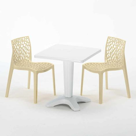 PATIO Set Made of a 70x70cm White Square Table and 2 Colourful GRUVYER Chairs