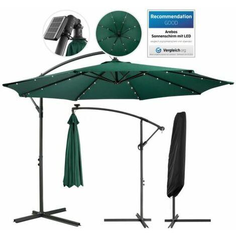 Patio Umbrella LED Hanging Umbrella Luxury Parasols Ø3m Green