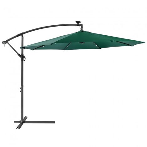 Patio Umbrella LED Hanging Umbrella Luxury Parasols Ø3m Green